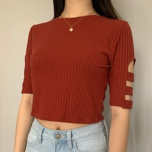 Crop top with sleeve holes